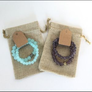 Bead Bracelets in Turquoise and Dark Grey Color